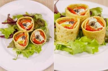 Roulés de crêpes de pois chiche aux poivrons grillés, tapenade, chèvre frais et basilic