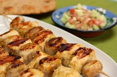 Brochettes de poulet marinées, épicées aux gingembre, massala, curcuma (Afghanistan, Inde, Pakistan)