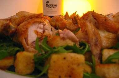 Poulet au beurre, fines herbes et vin blanc garni de pommes de terre sautées