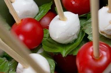 Brochettes de salade à la tomate, mozzarella, radis, concombre et basilic (Italie)