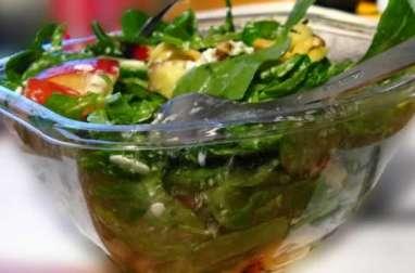 Salade d'épinards frais aux raviolis au fromage frits, aubergine, tomates (Italie)