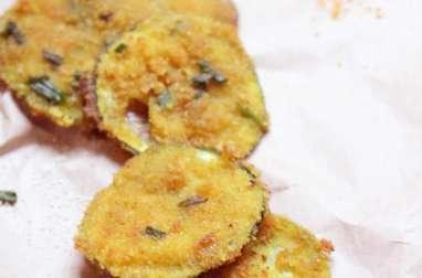 Bouchées apéritives de courgettes panées aux épices indiennes