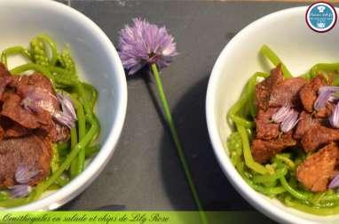 Ornithogales en salade et chips de Lily Rose.