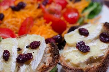 Salade de crudités aux cranberries et ses toasts au camembert
