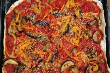 Pizza aubergines poivrons