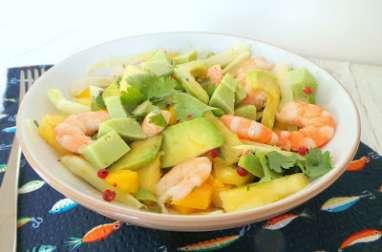Salade de crevettes, avocats, ananas, mangue, fenouil et gouda au wasabi