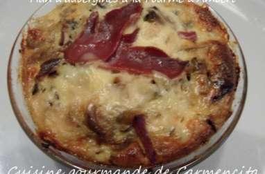 Flan d'aubergines à la Fourme d'Ambert et magret de canard séché