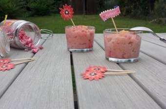 Riz au lait pralines roses et citron