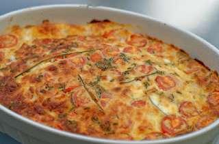 Clafoutis aux maquereaux, tomates cerises, mozzarella et parmesan