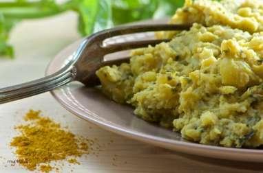 Une purée de pommes de terre au basilic (vegan)