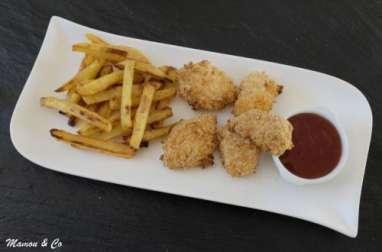 Nuggets de poulet sauce aigre-douce et frites épicées au four