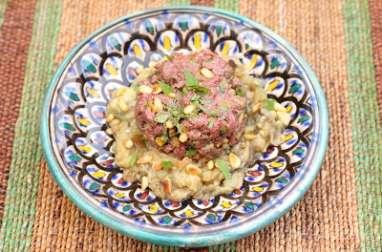 Tartare palestinien au tahiné et caviar d'aubergines