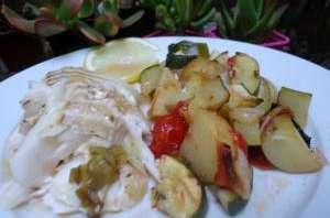 Dos de cabillaud et légumes au four