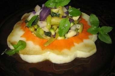 Salade de pâtisson et de petits légumes
