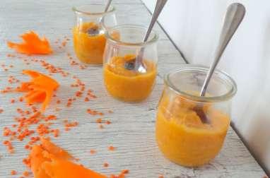 Purée de carottes et lentilles corail