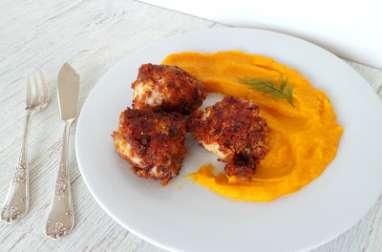 Lotte en croûte de pain d'épices et sa purée de carottes aux lentilles corail