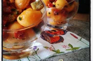Verrines de melon au chorizo et huile d'olive au citron