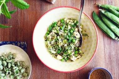 Salade de fèves, petits pois, graines germées et chèvre