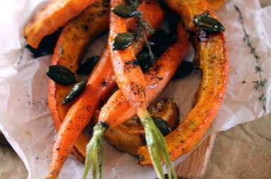 Légumes oranges rôtis au curry noir et graines caramélisées