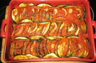 Tian de légumes et coulis de tomates