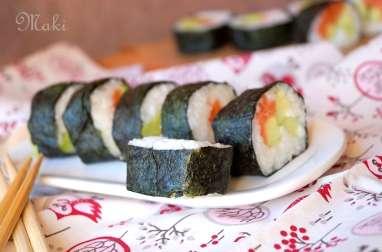 Maki au saumon avocat et concombre