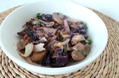 Poêlée de chou rouge, choudou et champignons