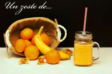 Smoothie mandarine orange banane citron physalis