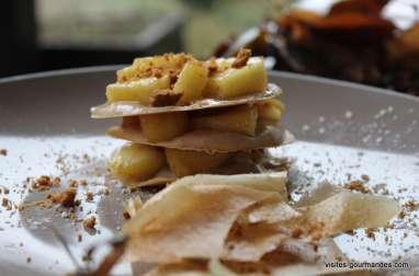 Feuilles de brick, mousse de marrons et pommes