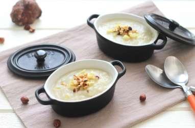 Soupe au topinambour, miel et noisette