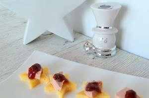 Etoiles de polenta au foie gras et confit de figues