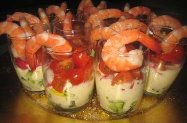 verrine crevettes et crudités, sauce légère au fromage blanc