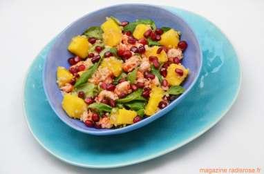 Salade d'écrevisses, quinoa, mangue et grenade