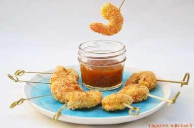 Crevettes panées à la noix de coco et chutney de mangue