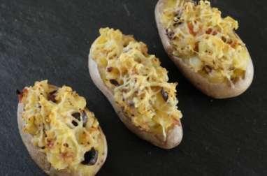 Pommes de terre farcies aux tomates séchées et aux olives noires