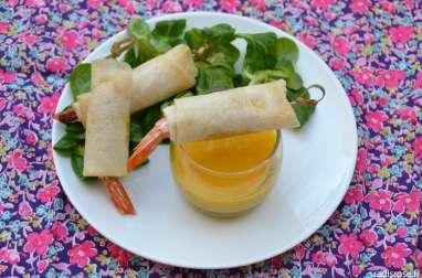 Gambas croustillantes au miel épicé et sauce mangue