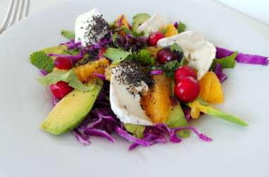 Salade de chou rouge, avocat,orange et chèvre