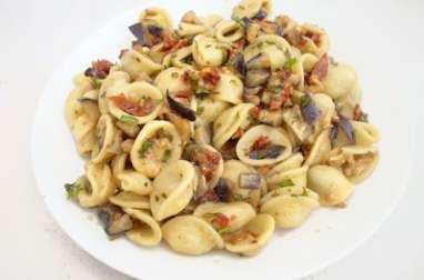 Orecchiette Aubergines, Tomates Confites & Chèvre Frais
