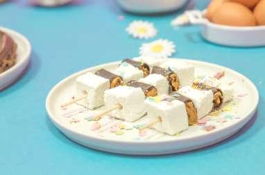 Brochettes de crêpes au chocolat et chamallow