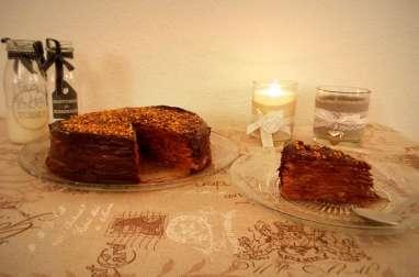 Gâteau de crêpes au chocolat praliné