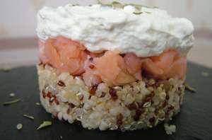 Saumon fumé quinoa et boulgour et mousse d'amande