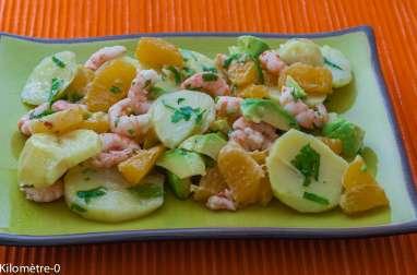 Salade de pommes de terre, crevettes et oranges