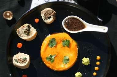 Ballotines de poulet farcies aux shiitake et poivre noir, purée carotte potimarron coco