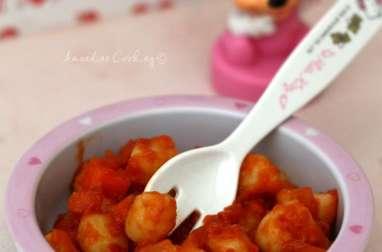 Gnocchi à la sauce tomate, carotte et oignon