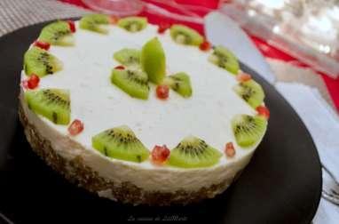 Cheesecake aux kiwis sur fond de gavottes bretonnes