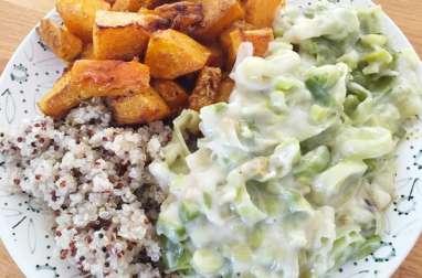 Fondue de poireaux butternut rôtie et quinoa