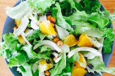 Salade de fenouil orange et pois chiches rôtis