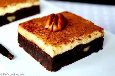 Brownie cheesecake aux noix de pécan