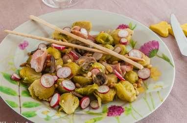 Poêlée de choux de Bruxelles, champignons, bacon