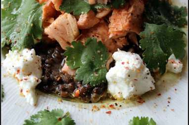 Salade de lentilles au saumon et au chèvre