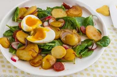 Pommes de terre sautées au chorizo et oeuf mollet